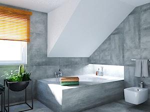 Dom w stylu nowoczesnym - Średnia biała łazienka na poddaszu z oknem, styl nowoczesny - zdjęcie od Beata Szczudrawa projektowanie wnętrz