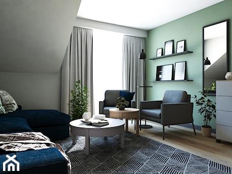 Dom w stylu nowoczesnym - Duże szare zielone biuro domowe na poddaszu w pokoju, styl nowoczesny - zdjęcie od Beata Szczudrawa projektowanie wnętrz