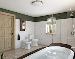 Rustykalny dom - Duża biała zielona łazienka w domu jednorodzinnym z oknem, styl rustykalny - zdjęcie od Beata Szczudrawa projektowanie wnętrz