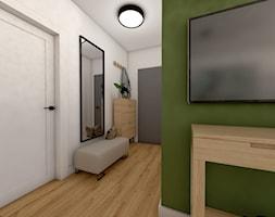 Mieszkanie w bloku - Duży biały zielony hol / przedpokój, styl eklektyczny - zdjęcie od Beata Szczudrawa projektowanie wnętrz
