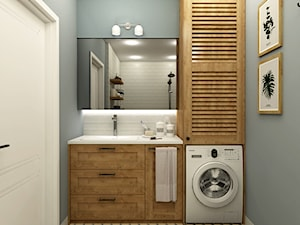 Mieszkanie w zabudowie bliźniaczej - Wrocław - Mała szara łazienka w bloku w domu jednorodzinnym bez okna, styl eklektyczny - zdjęcie od Beata Szczudrawa projektowanie wnętrz