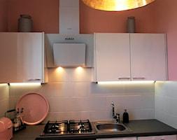 Modern scandi - Mała zamknięta niebieska różowa kuchnia jednorzędowa w aneksie - zdjęcie od Agnieszka Jeleń 3