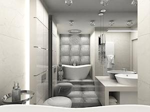 Apartament w Łodzi - Średnia biała szara łazienka bez okna, styl glamour - zdjęcie od BOKA Pracownia Wnętrz