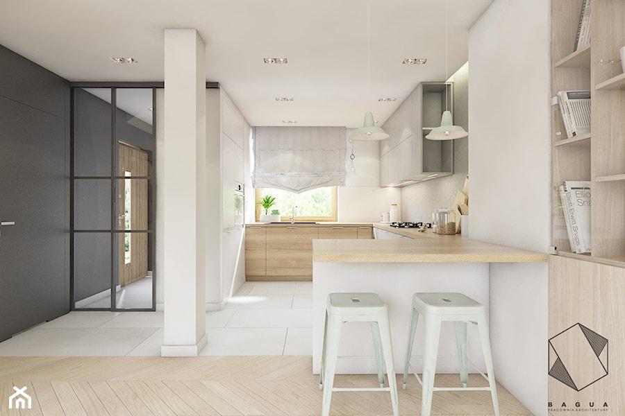 (Dąbrowa Górnicza) Dom jednorodzinny 15 - Średnia zamknięta biała kuchnia w kształcie litery g w aneksie z oknem, styl skandynawski - zdjęcie od BAGUA Pracownia Architektury Wnętrz