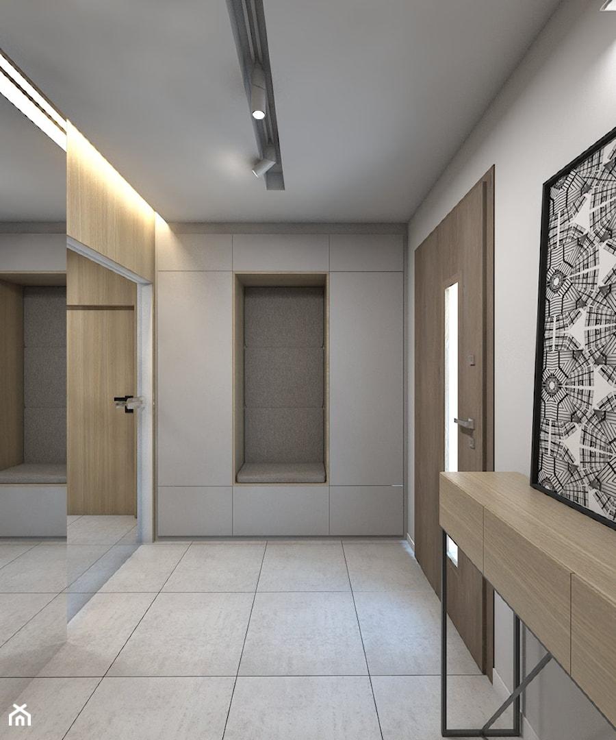 (Dom w okolicy Lublińca) Dom jednorodzinny 7 - Średni biały hol / przedpokój, styl nowoczesny - zdjęcie od BAGUA Pracownia Architektury Wnętrz