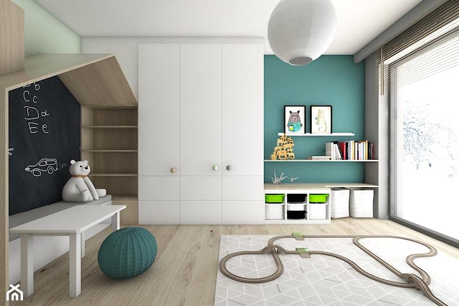 Pokoje dziecięce - Średni szary miętowy turkusowy pokój dziecka dla chłopca dla malucha, styl nowoczesny - zdjęcie od BAGUA Pracownia Architektury Wnętrz