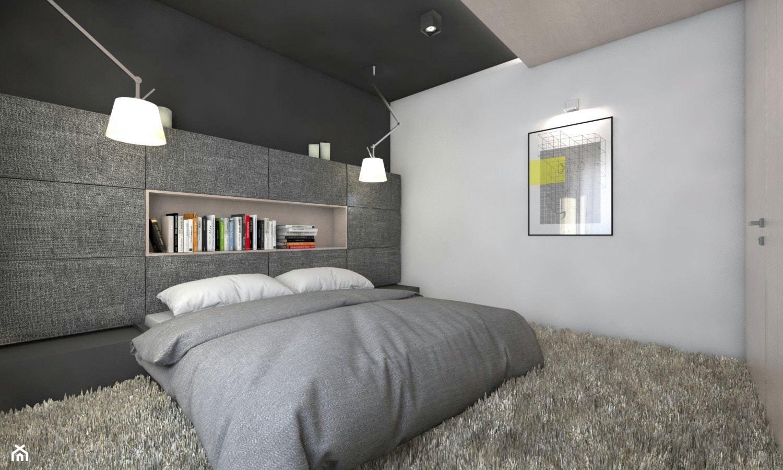 (Będzin) Projekt domu jednorodzinnego 4 - Mała szara sypialnia małżeńska, styl nowoczesny - zdjęcie od BAGUA Pracownia Architektury Wnętrz - Homebook