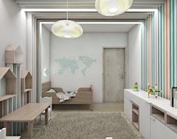 Pokoje dziecięce - Średni biały szary niebieski pomarańczowy kolorowy pokój dziecka dla chłopca dla dziewczynki dla malucha, styl skandynawski - zdjęcie od BAGUA Pracownia Architektury Wnętrz