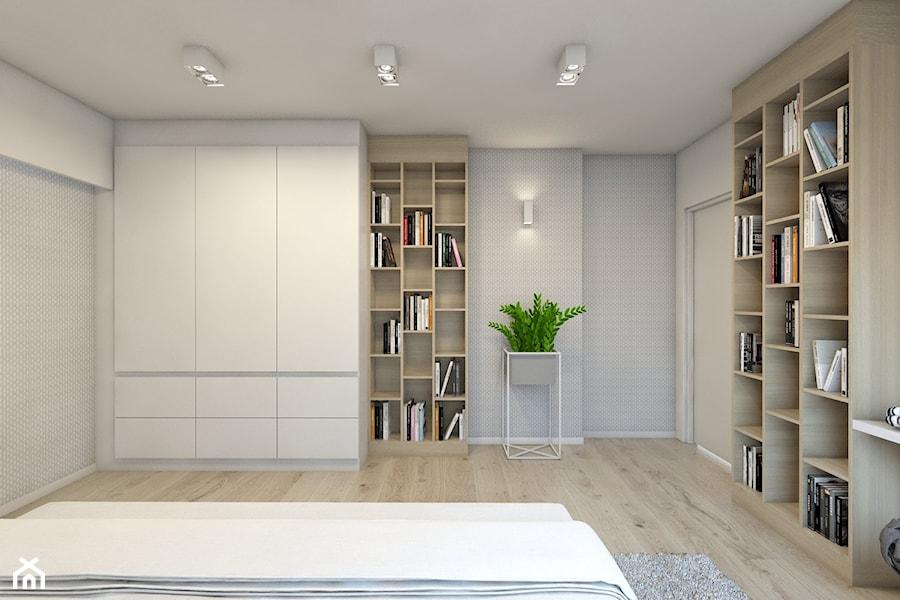 (Dom w okolicy Lublińca) Dom jednorodzinny 7 - Duża szara sypialnia małżeńska, styl nowoczesny - zdjęcie od BAGUA Pracownia Architektury Wnętrz