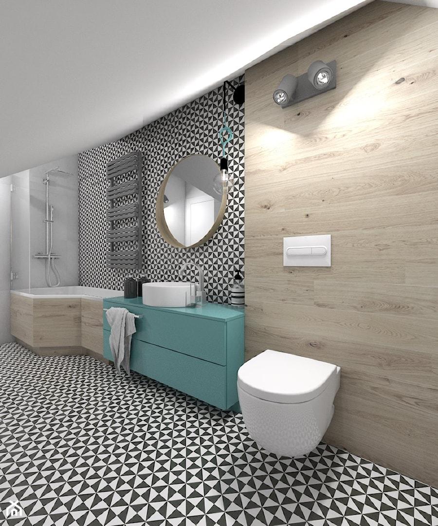 (Dom w okolicy Lublińca) Dom jednorodzinny 7 - Duża biała czarna brązowa szara łazienka na poddaszu w domu jednorodzinnym, styl skandynawski - zdjęcie od BAGUA Pracownia Architektury Wnętrz