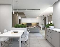 (Dom w okolicy Lublińca) Dom jednorodzinny 7 - Średnia otwarta biała beżowa jadalnia w kuchni, styl nowoczesny - zdjęcie od BAGUA Pracownia Architektury Wnętrz