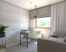 (Dom w okolicy Lublińca) Dom jednorodzinny 7 - Małe szare białe biuro kącik do pracy w pokoju, styl nowoczesny - zdjęcie od BAGUA Pracownia Architektury Wnętrz