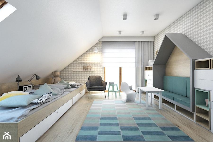 (Dom w okolicy Lublińca) Dom jednorodzinny 7 - Duży szary pokój dziecka dla dziewczynki dla rodzeństwa dla malucha, styl nowoczesny - zdjęcie od BAGUA Pracownia Architektury Wnętrz
