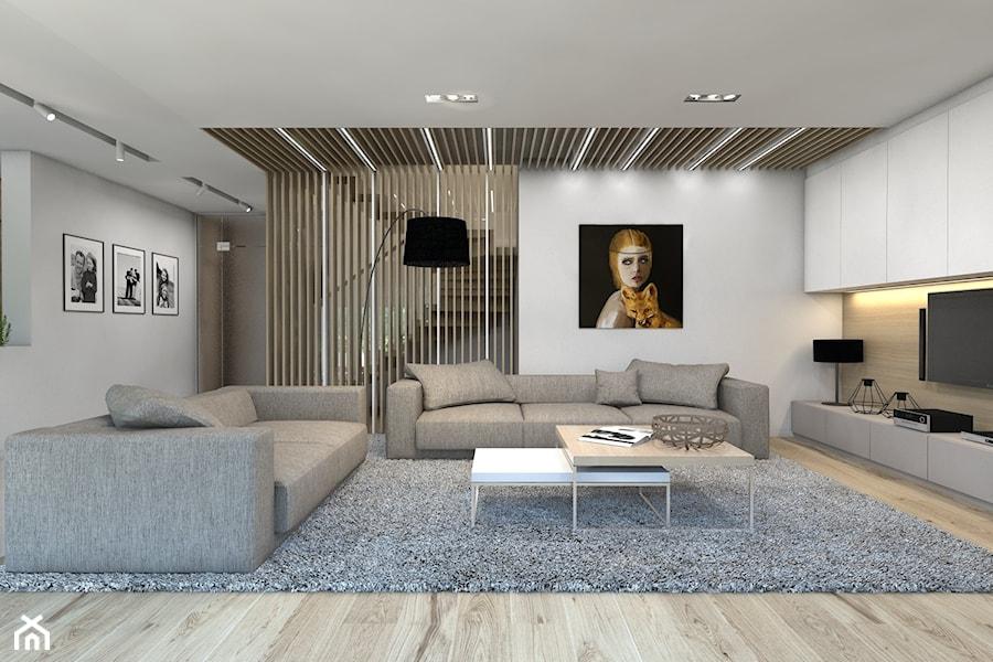 (Dom w okolicy Lublińca) Dom jednorodzinny 7 - Duży biały salon - zdjęcie od BAGUA Pracownia Architektury Wnętrz