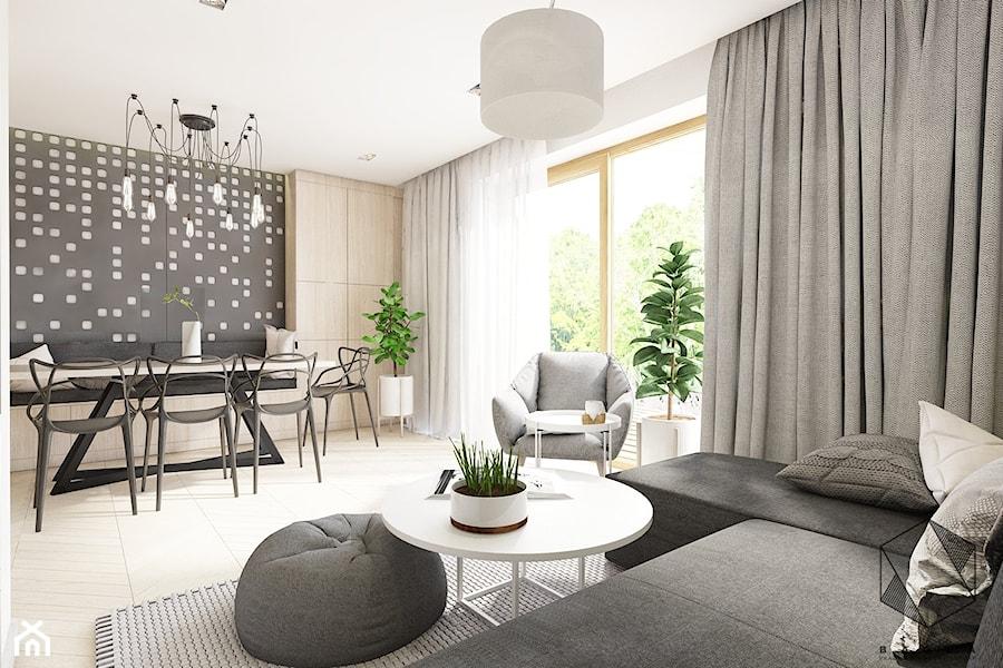 (Dąbrowa Górnicza) Dom jednorodzinny 15 - Średni szary biały salon z jadalnią z tarasem / balkonem, styl nowoczesny - zdjęcie od BAGUA Pracownia Architektury Wnętrz