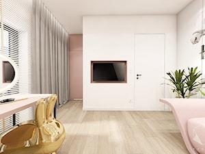 Rzeszów - D23 - Projekt domu jednorodzinnego 600 m2 - Duży biały różowy pokój dziecka dla dziewczynki dla ucznia dla nastolatka, styl nowoczesny - zdjęcie od BAGUA Pracownia Architektury Wnętrz