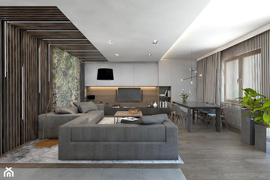 (Dom w okolicy Lublińca) Projekt domu jednorodzinnego 7a - Duży salon z jadalnią, styl nowoczesny - zdjęcie od BAGUA Pracownia Architektury Wnętrz