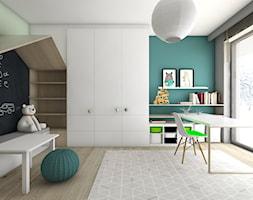 Pokoje dziecięce - Duży biały szary pastelowy turkusowy zielony pokój dziecka dla chłopca dla dziewczynki dla rodzeństwa dla ucznia dla malucha dla nastolatka, styl nowoczesny - zdjęcie od BAGUA Pracownia Architektury Wnętrz