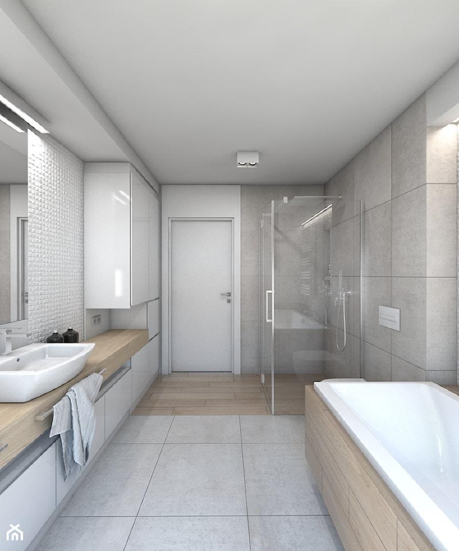 (Dom w okolicy Lublińca) Dom jednorodzinny 7 - Duża biała szara łazienka bez okna, styl nowoczesny - zdjęcie od BAGUA Pracownia Architektury Wnętrz