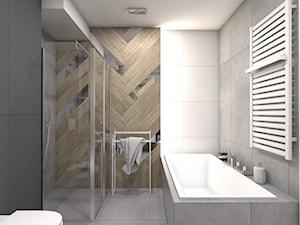 (Tarnowskie Góry) Projekt domu jednorodzinnego 1 - Średnia szara łazienka, styl nowoczesny - zdjęcie od BAGUA Pracownia Architektury Wnętrz