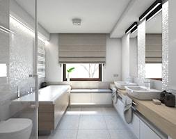 (Dom w okolicy Lublińca) Dom jednorodzinny 7 - Duża biała łazienka, styl nowoczesny - zdjęcie od BAGUA Pracownia Architektury Wnętrz