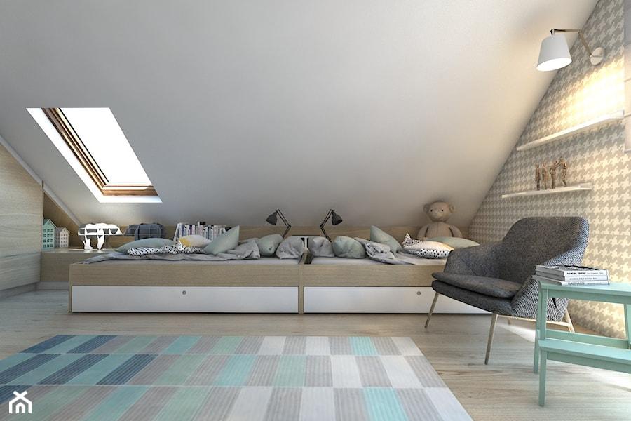 (Dom w okolicy Lublińca) Dom jednorodzinny 7 - Średni biały szary pokój dziecka dla chłopca dla dziewczynki dla rodzeństwa dla malucha, styl skandynawski - zdjęcie od BAGUA Pracownia Architektury Wnętrz