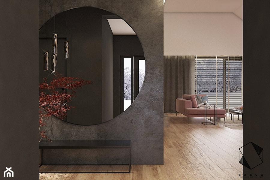 Projekt domu jednorodzinnego D18 - Gliwice - Średni brązowy hol / przedpokój, styl nowoczesny - zdjęcie od BAGUA Pracownia Architektury Wnętrz