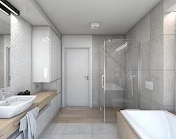(Dom w okolicy Lublińca) Dom jednorodzinny 7 - Duża biała szara łazienka, styl nowoczesny - zdjęcie od BAGUA Pracownia Architektury Wnętrz