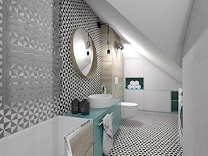 (Dom w okolicy Lublińca) Dom jednorodzinny 7 - Duża biała czarna brązowa łazienka na poddaszu w domu jednorodzinnym bez okna, styl nowoczesny - zdjęcie od BAGUA Pracownia Architektury Wnętrz
