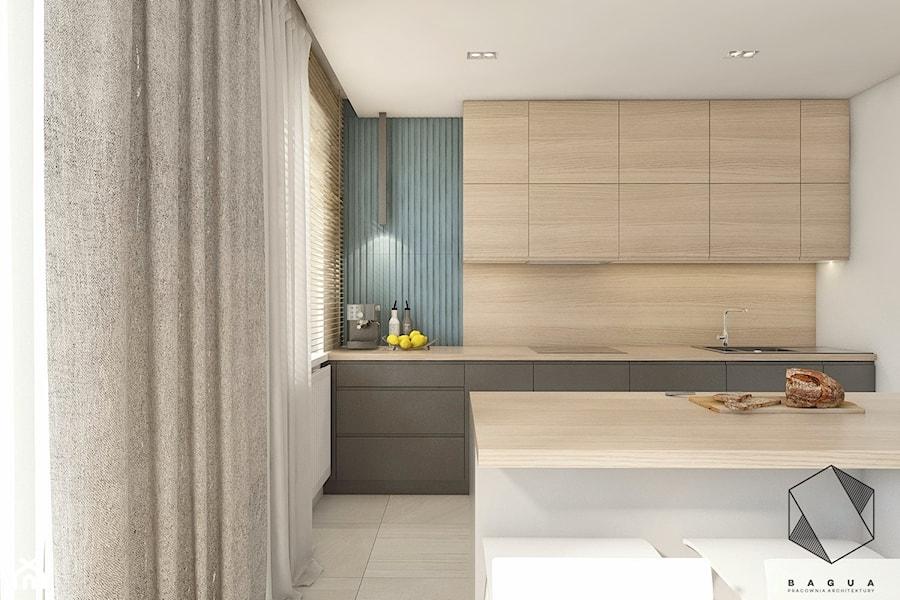 (Łódź) Projekt mieszkania 4 - Średnia otwarta kuchnia jednorzędowa w aneksie z wyspą z oknem, styl nowoczesny - zdjęcie od BAGUA Pracownia Architektury Wnętrz