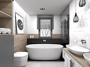 Projekt domu jednorodzinnego 3 - Średnia biała czarna brązowa łazienka, styl skandynawski - zdjęcie od BAGUA Pracownia Architektury Wnętrz