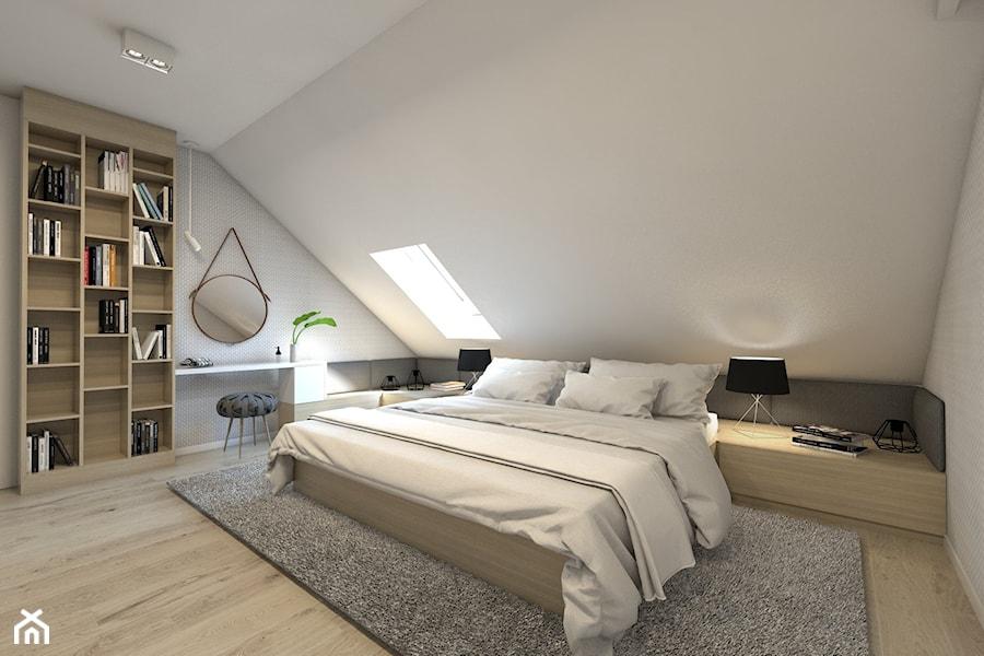 (Dom w okolicy Lublińca) Dom jednorodzinny 7 - Średnia biała sypialnia małżeńska na poddaszu, styl nowoczesny - zdjęcie od BAGUA Pracownia Architektury Wnętrz