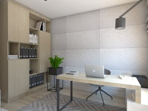 (Dom w okolicy Lublińca) Dom jednorodzinny 7 - Średnie szare biuro domowe w pokoju, styl nowoczesny - zdjęcie od BAGUA Pracownia Architektury Wnętrz