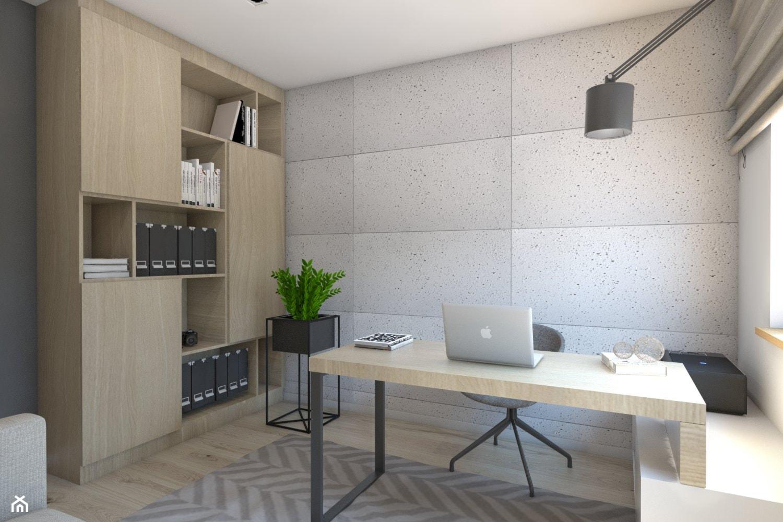 (Dom w okolicy Lublińca) Dom jednorodzinny 7 - Średnie szare biuro domowe w pokoju, styl nowoczesny - zdjęcie od BAGUA Pracownia Architektury Wnętrz - Homebook