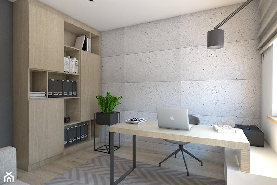 (Dom w okolicy Lublińca) Dom jednorodzinny 7 - Średnie biuro domowe w pokoju, styl nowoczesny ...