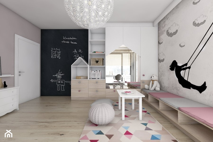 Aranżacje wnętrz - Pokój dziecka: Pokoje dziecięce - Duży biały szary czarny pokój dziecka dla dziewczynki dla malucha, styl nowoczesny - BAGUA Pracownia Architektury Wnętrz. Przeglądaj, dodawaj i zapisuj najlepsze zdjęcia, pomysły i inspiracje designerskie. W bazie mamy już prawie milion fotografii!