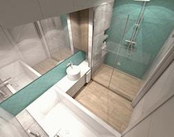 (Łódź) Projekt mieszkania 4 - Średnia czarna zielona łazienka na poddaszu w bloku w domu jednorodzinnym bez okna, styl nowoczesny - zdjęcie od BAGUA Pracownia Architektury Wnętrz