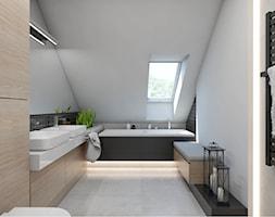 (Sochaczew) Projekt domu jednorodzinnego 8 - Duża biała czarna brązowa łazienka na poddaszu w domu jednorodzinnym z oknem, styl nowoczesny - zdjęcie od BAGUA Pracownia Architektury Wnętrz
