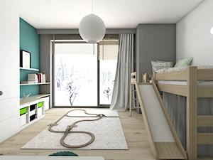 Pokoje dziecięce - Średni szary turkusowy pokój dziecka dla chłopca dla malucha, styl nowoczesny - zdjęcie od BAGUA Pracownia Architektury Wnętrz