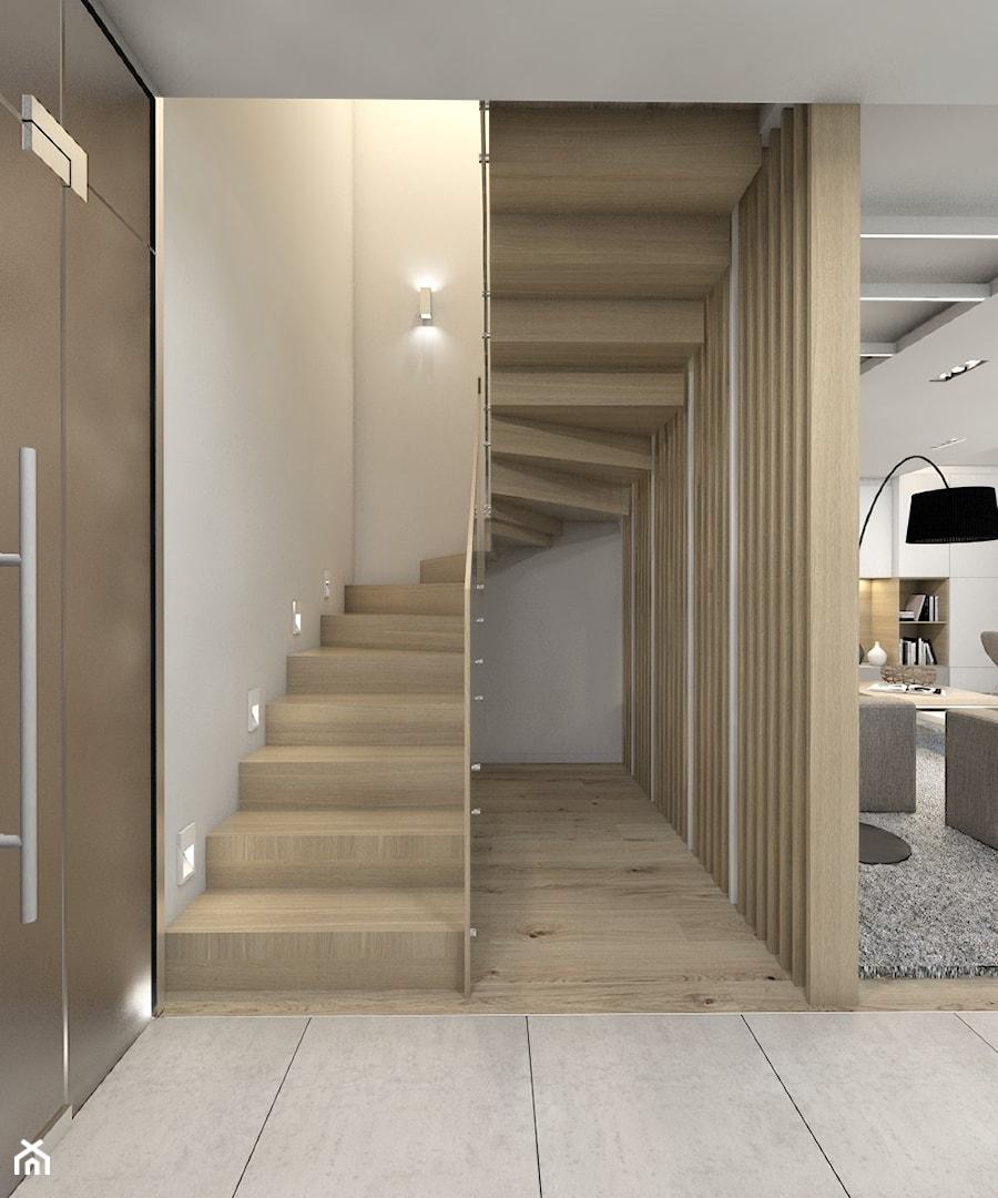 (Dom w okolicy Lublińca) Dom jednorodzinny 7 - Średnie wąskie schody zabiegowe wachlarzowe drewniane, styl nowoczesny - zdjęcie od BAGUA Pracownia Architektury Wnętrz