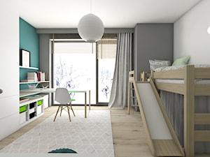 Pokoje dziecięce - Średni szary turkusowy pokój dziecka dla chłopca dla dziewczynki dla rodzeństwa dla ucznia dla malucha dla nastolatka, styl nowoczesny - zdjęcie od BAGUA Pracownia Architektury Wnętrz