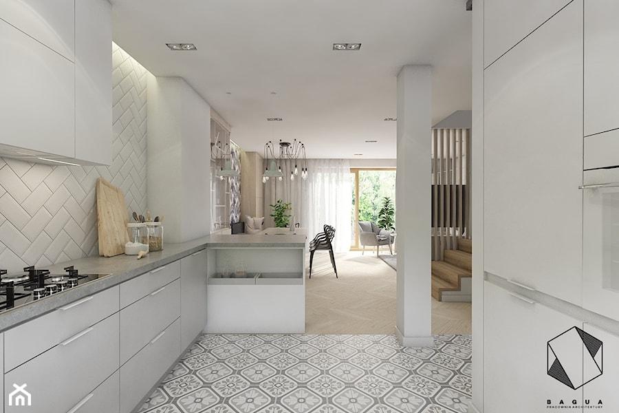 (Dąbrowa Górnicza) Dom jednorodzinny 15 - Średnia otwarta biała kuchnia w kształcie litery g w aneksie z oknem, styl skandynawski - zdjęcie od BAGUA Pracownia Architektury Wnętrz