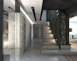 (Będzin) Projekt domu jednorodzinnego 4 - Średni biały szary hol / przedpokój, styl nowoczesny - zdjęcie od BAGUA Pracownia Architektury Wnętrz