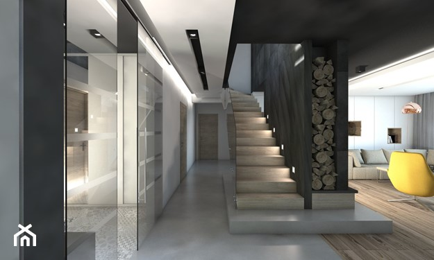 dom ze schodami i jasną podłogą