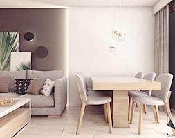 Mieszkanie 10 - Kraków - Średnia otwarta beżowa brązowa jadalnia w salonie, styl nowoczesny - zdjęcie od BAGUA Pracownia Architektury Wnętrz