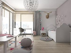 Pokoje dziecięce - Duży szary beżowy pokój dziecka dla dziewczynki dla ucznia dla nastolatka, styl nowoczesny - zdjęcie od BAGUA Pracownia Architektury Wnętrz