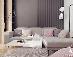 M11 - mieszkanie w Opolu - Mały biały brązowy salon z bibiloteczką z jadalnią, styl nowoczesny - zdjęcie od BAGUA Pracownia Architektury Wnętrz