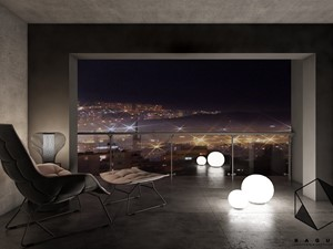 Projekt mieszkania 7 - Mały taras z przodu domu z tyłu domu, styl nowoczesny - zdjęcie od BAGUA Pracownia Architektury Wnętrz