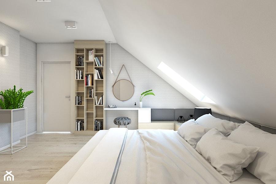 (Dom w okolicy Lublińca) Dom jednorodzinny 7 - Duża biała szara sypialnia małżeńska na poddaszu, styl nowoczesny - zdjęcie od BAGUA Pracownia Architektury Wnętrz