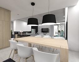 Projekt domu jednorodzinnego 3 - Średnia otwarta biała jadalnia w salonie, styl nowoczesny - zdjęcie od BAGUA Pracownia Architektury Wnętrz